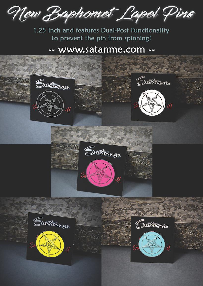 Satanme: New Dual-Post Sigil of Baphomet Lapel Pins