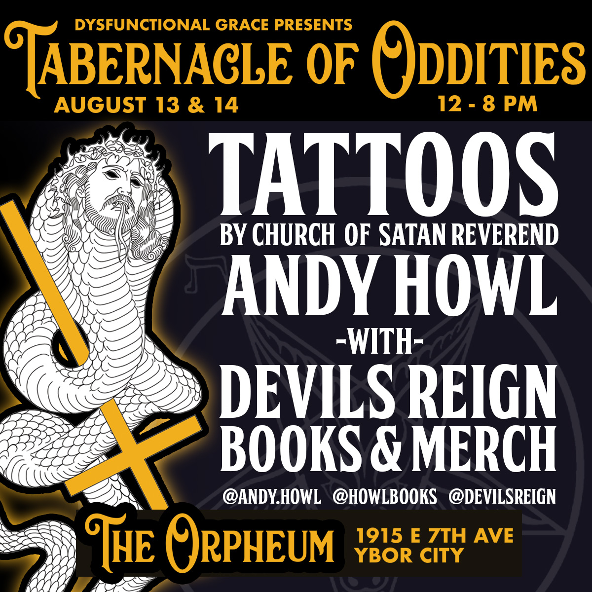 Reverend Andy Howl at the Tabernacle of Oddities expo in Ybor City, Tampa